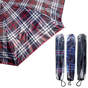 Plaid Folding Umbrellas 9.5""