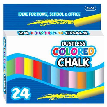 24 Pc Color Dustless Chalk 24 Pack