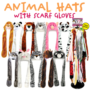 72pc Animal Head Hats With Scarf & Gloves Display Rack