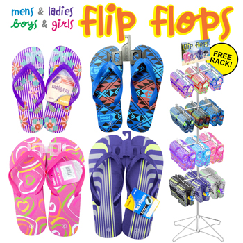 144pc Boys Girls Mens Ladies Flip Flop Display