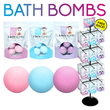 120pc 3 Pack Bath Bombs Display in 3 Assorted Scents