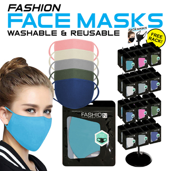 288pc Reusable Face Mask Display - Assorted colors