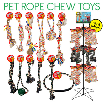 144pc Rope Toy Chews - 12 assorted displays