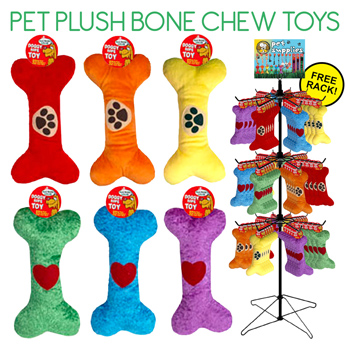 "108pc 9"" Dog Plush Toy Bone Display"