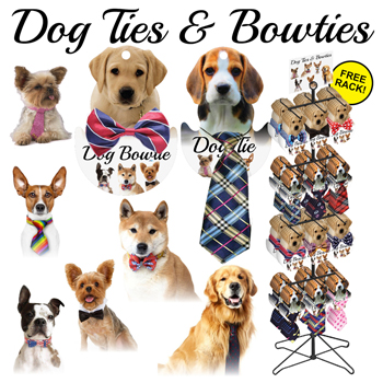 144pc Dog tie & Bow tie display - 30 assorted styles and colors