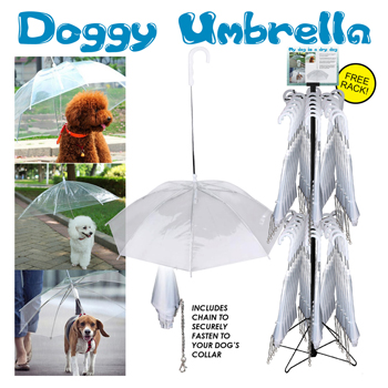 60pc Dog walking umbrella and leash combo display