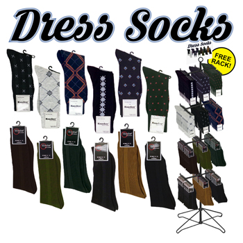 144pc Men's dress sock display
