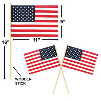 USA Flag with Plastic Pole 18x11.5""