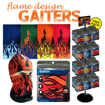 288pc Gaiters with flame design display