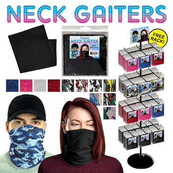 288 Pc Fabric Assorted Neck Gaiter Display