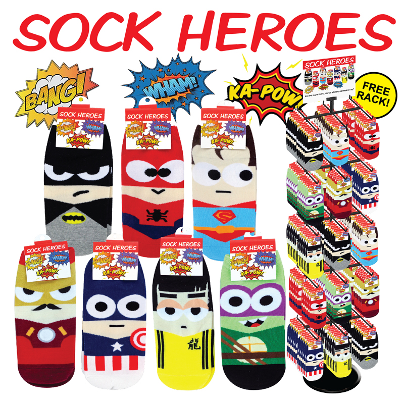 288pc Super Hero Sock Display