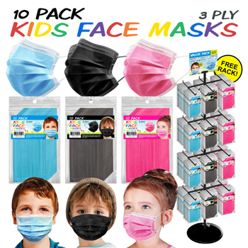 300 Pc Kids 10 Pack 3 Ply Face Mask Display