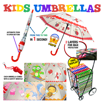 Kids Umbrellas 72 Pc Assortment & Display