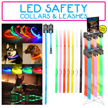 LED Dog Collar & Leash 96 Piece Display