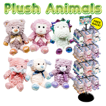 "72pc 12"" Plush Animal Display"