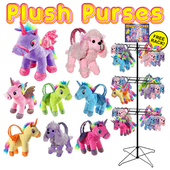 72pc Dog & Unicorn Plush Purse Display