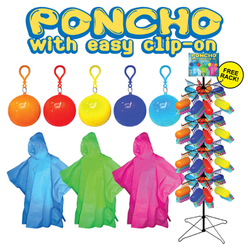 240pc Poncho's in Reusable Holders with Clip