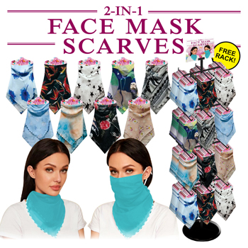 144pc 2-IN-1 Combo Chiffon Mask Scarf Display