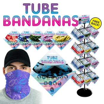 288pc Tube Bandana Display 12-24 Styles