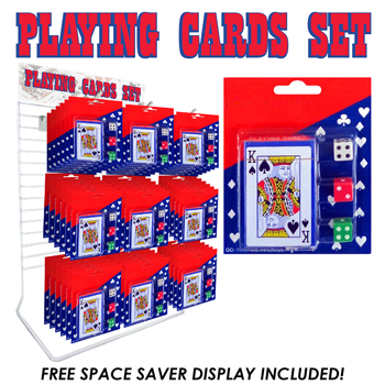 36pc Playing Cards with Dice Display
