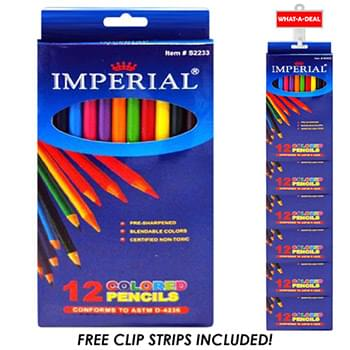 24Pc Color Pencils 12 pack with 2 clip strips