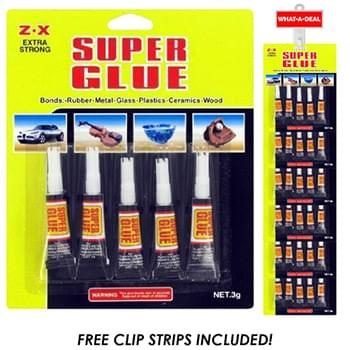 24pc 5 pack Super Glue with 2 clip strips
