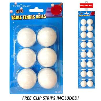 24pc Ping Pong Balls 6 pack with 2 clip strips