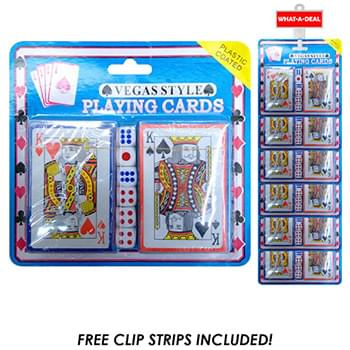 24pc 2 pack Poker Cards with 2 clip strips