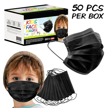 50 Pack Box 3-Ply Black Kids Face Mask
