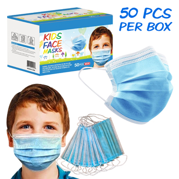 50 Pack Box 3-Ply Blue Kids Face Mask