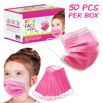 50 Pack Box 3-Ply Pink Kids Face Mask