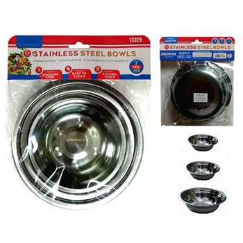 3 Pack Stainless steel bowls