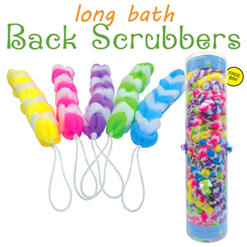 Long Bath Back Scrubber 144 Per Tube Display